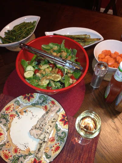Saturday night dinner - baked salmon and cheating a little with the bottled dressing