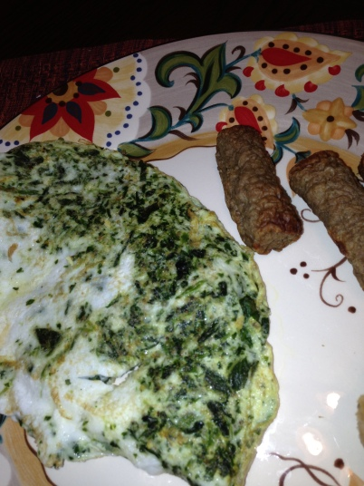 Egg white and spinach omelet with turkey sausage